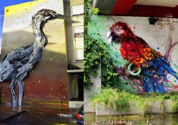 Buluntu objelerle üç boyutlu sokak sanatı yapıldı