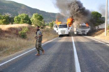 PKK'lı teröristler 3 aracı yaktı