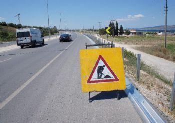 Bursa-İzmir kara yolunda bariyer çalışması