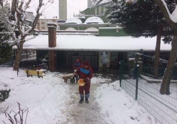Gebze'de avlu ve bahçeler kardan temizlendi