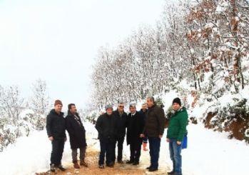 Önce iş makinesiyle karları kürediler, sonra ormana yiyecek bıraktılar