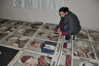 1,5 milyon taşla padişahların mozaik tablosunu yaptı
