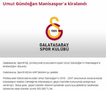 Umut Gündoğan Manisaspor'a kiralandı