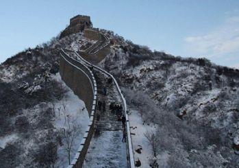 Çin Seddi'nde kar cazibesi