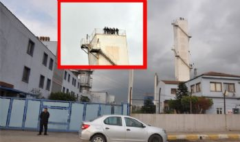 60 metrelik kulede işçi eylemi