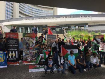 Viyana'da Filistinli tutuklulara destek gösterisi