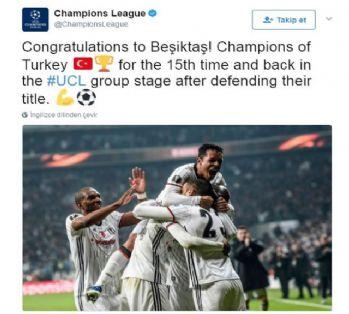 UEFA Beşiktaş'ı tebrik etti