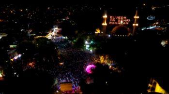 Eyüp Sultan'da Kadir gecesi coşkusu havadan görüntülendi