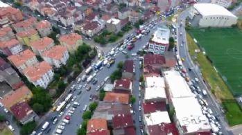 Yoğun trafik ve sel havadan görüntülendi
