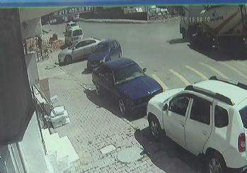 Yolun tırı yutma anı kamerada