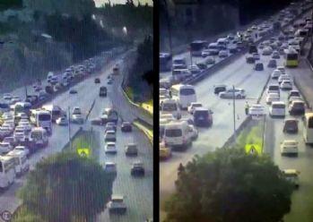 Köprü girişinde ters dönüş yapan sürücüler kamerada