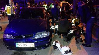 Otomobil yunus polislerine çarptı: 2 polis yaralı