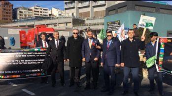 İstanbul Kongre Merkezi önünde 'Kudüs' eylemi
