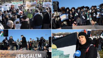 Beyaz Saray'ın çevresinde Trump'a Kudüs tepkisi