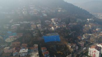 Heyelan bölgesi drone ile görüntülendi