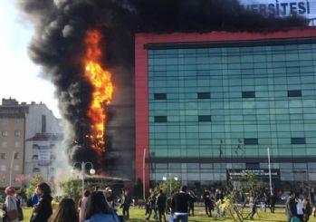 Avrasya Üniversite'sinde korkutan yangın!
