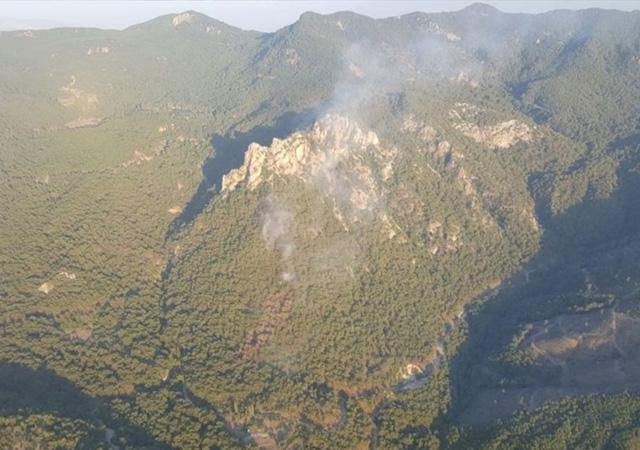 İzmir'deki Karagöl Tabiat Parkı yakınlarında orman yangını
