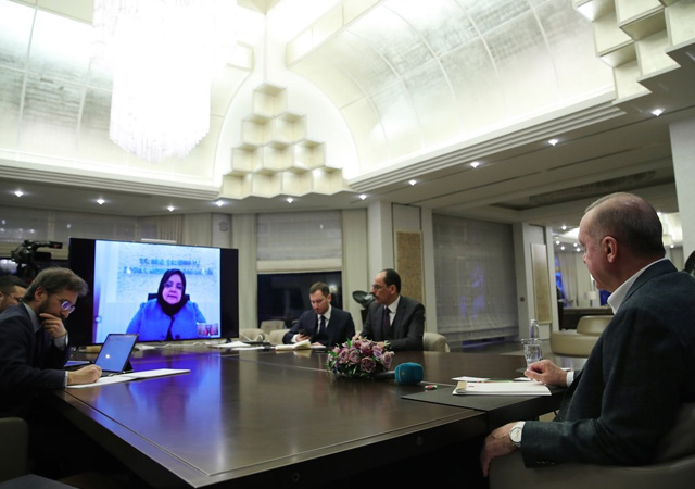 Erdoğan, bakanlar ile telekonferans yaptı