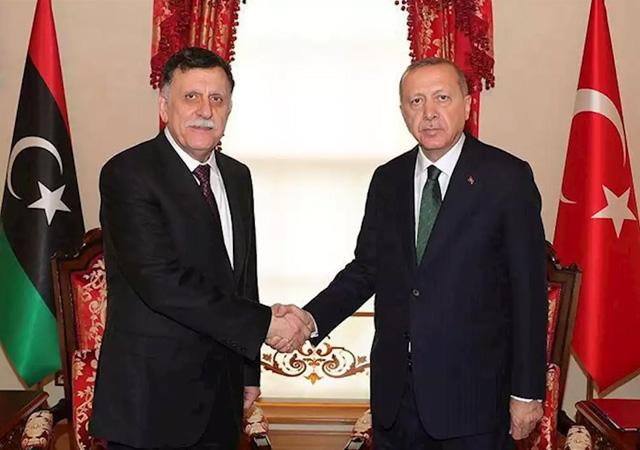 Erdoğan, Libya UMH Başkanlık Konseyi Başkanı Serrac ile bir araya geldi