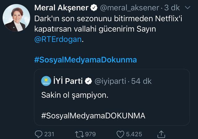 Akşener'den Erdoğan'a: Dark son sezonunu bitirmeden Netflix'i kapatırsan gücenirim