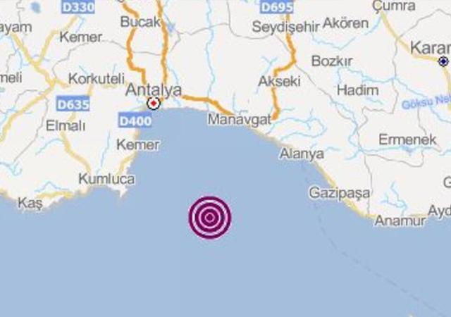 Antalya'da 4.0 büyüklüğünde deprem meydana geldi