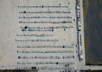 Yenikapı'ya getirilen yüzlerce araç havadan görüntülendi