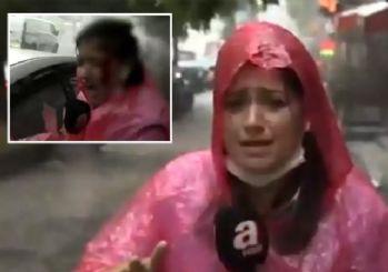 İstanbul'da şiddetli fırtına! Muhabir kanlar içinde kaldı