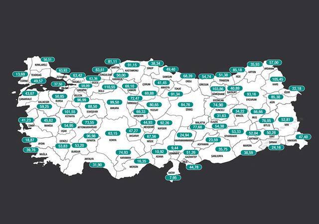 İllere göre haftalık vaka yoğunluğu haritası açıklandı