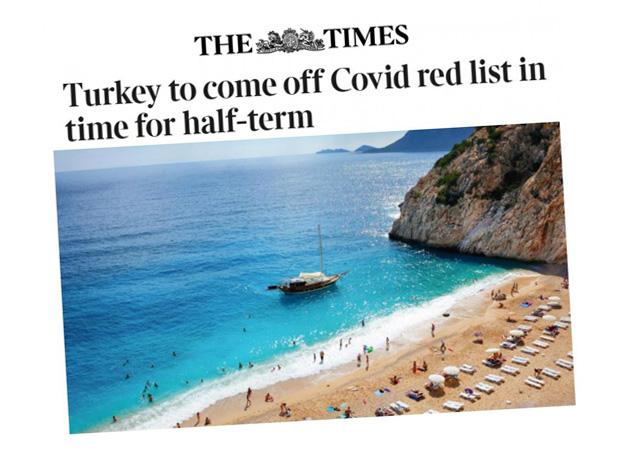İngiltere, seyahat için Türkiye'yi kırmızı listeden çıkaracak