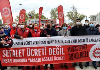 İstanbul'da DİSK'ten asgari ücret eylemi