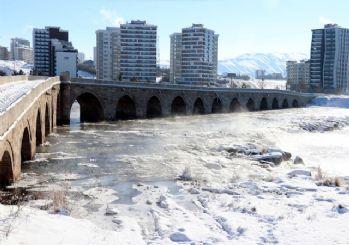 Sivas'ta Kızılırmak buz tuttu