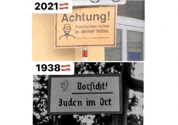 Avusturya'da islamofobi tabelaları! Hitler ruhu hotladı
