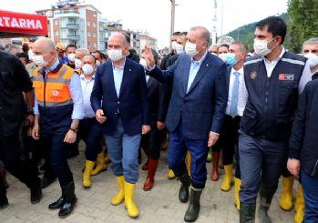 Erdoğan, sel felaketinden etkilenen Bozkurt'ta