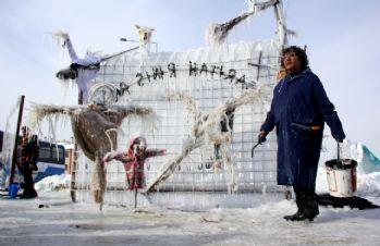 Mültecilerin dramı buza yansıdı