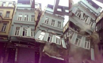 Beyoğlu'ndaki bitişik binalar böyle çöktü !