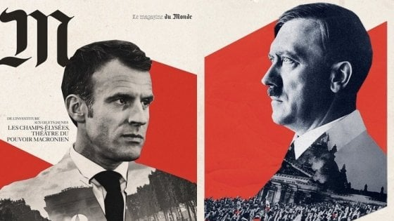 Fransızlar Macron'u Hitler'e benzettiler | Hür Haber