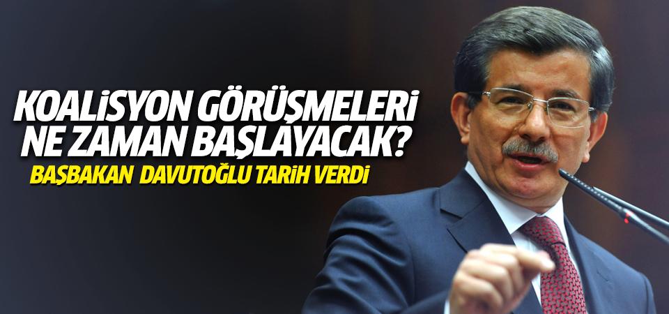 Başbakan Davutoğlu, koalisyon için tarih verdi!