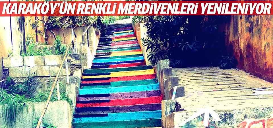 Karaköy'ün rengarenk merdivenleri yenileniyor