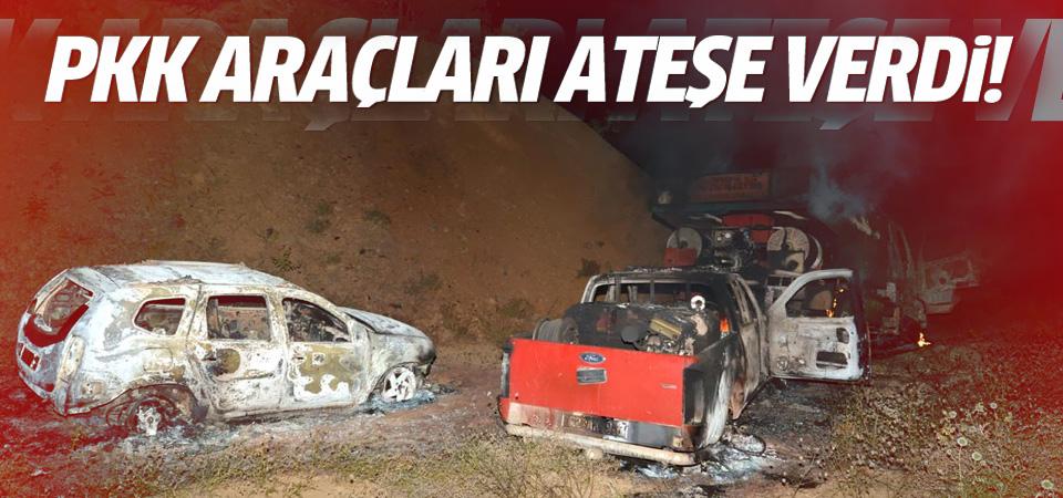 Tunceli'de yol kesen PKK'lılar araçları ateşe verdi