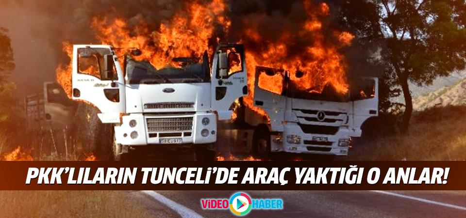 PKK'lıların Tunceli'de araç yaktığı o anlar!