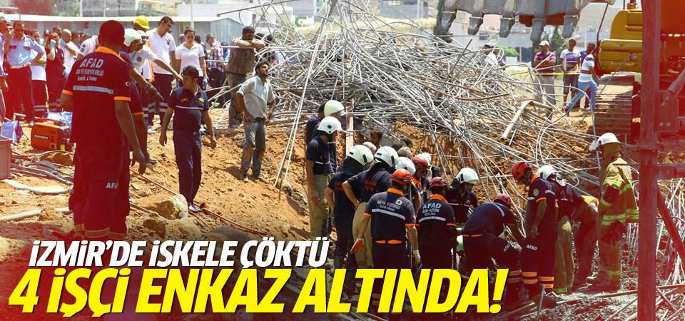 İzmir'de iskele çöktü: 4 işçi enkaz altında!