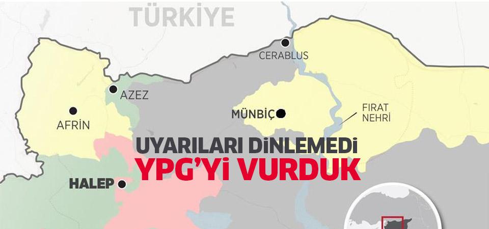 TSK Membiç'ten 'şekil yapan' YPG'yi vurdu