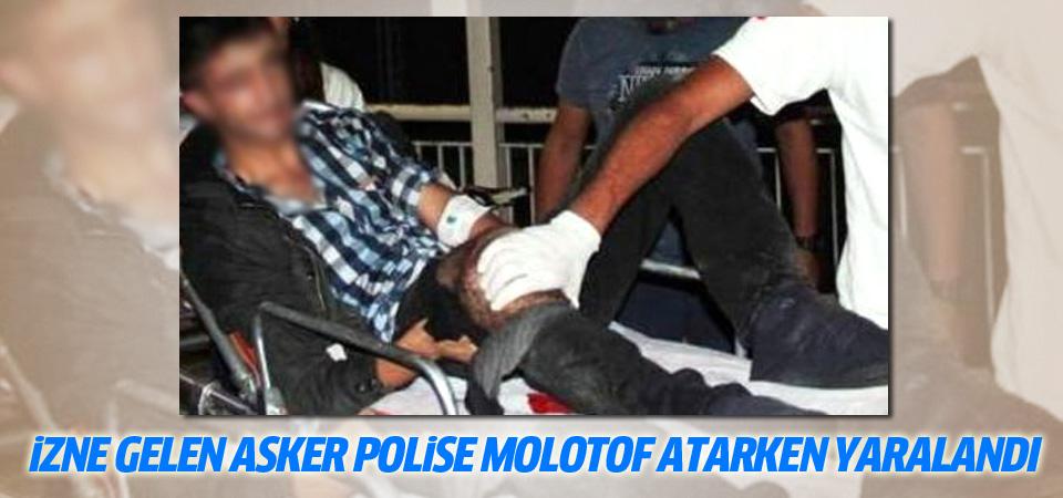 Tunceli'den izne gelen asker polise molotof atarken yaralandı