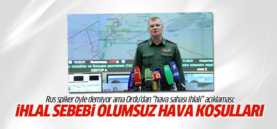 Rusya'dan Türk hava sahası ihlali hakkında açıklama