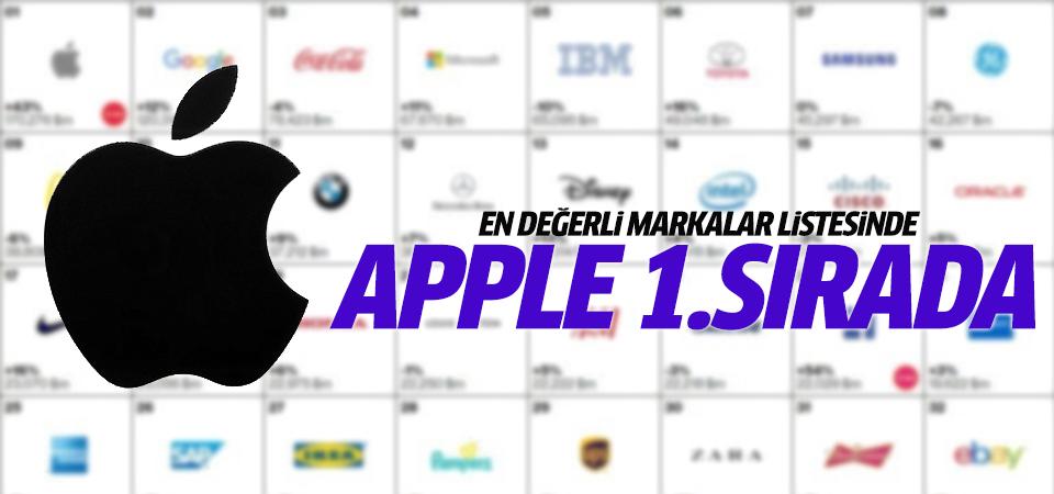 Apple en değerli markalar listesinde ilk sırada