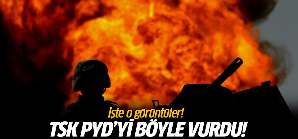 Türk jetlerinin PYD'li teröristleri vurma anı