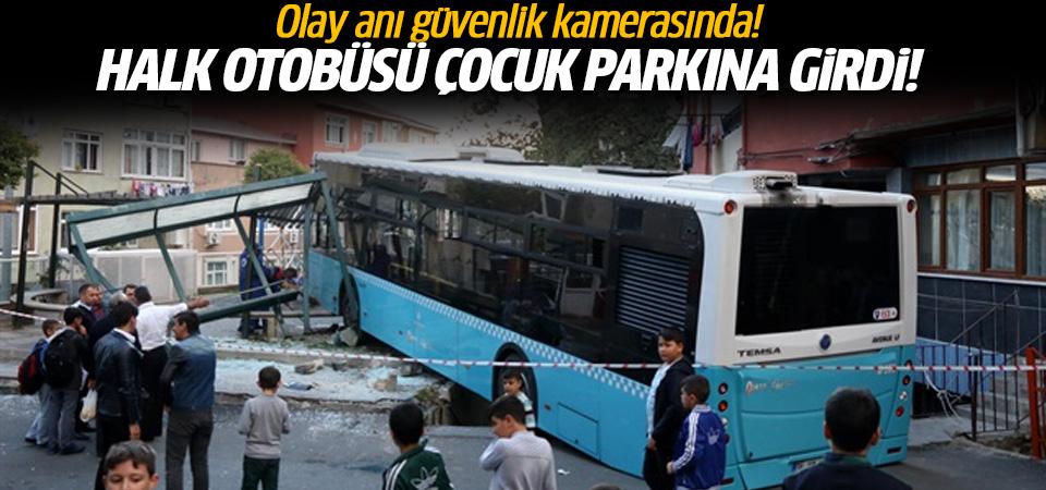 İstanbul'da freni boşalan halk otobüsü çocuk parkına girdi