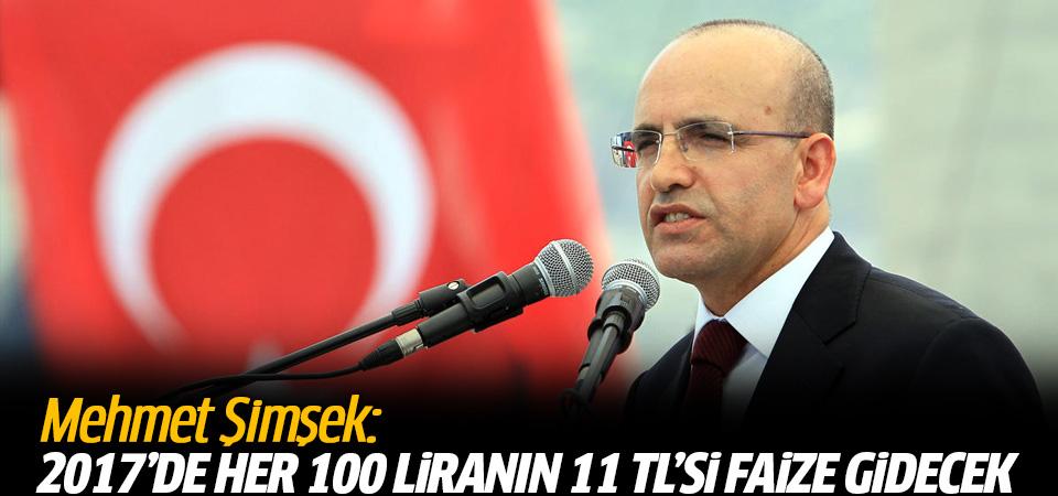 2017'de her 100 liranın 11 TL'si faize gidecek!