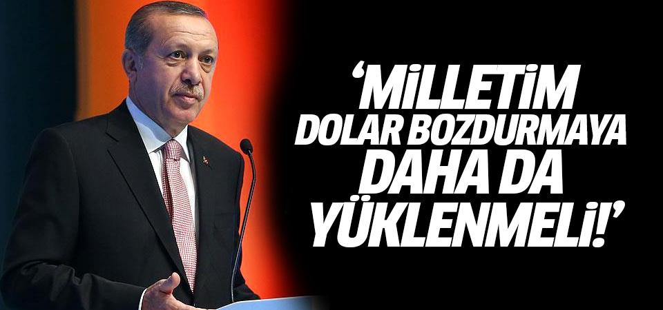 Erdoğan: Milletim dolar bozdurmaya daha da yüklenmeli