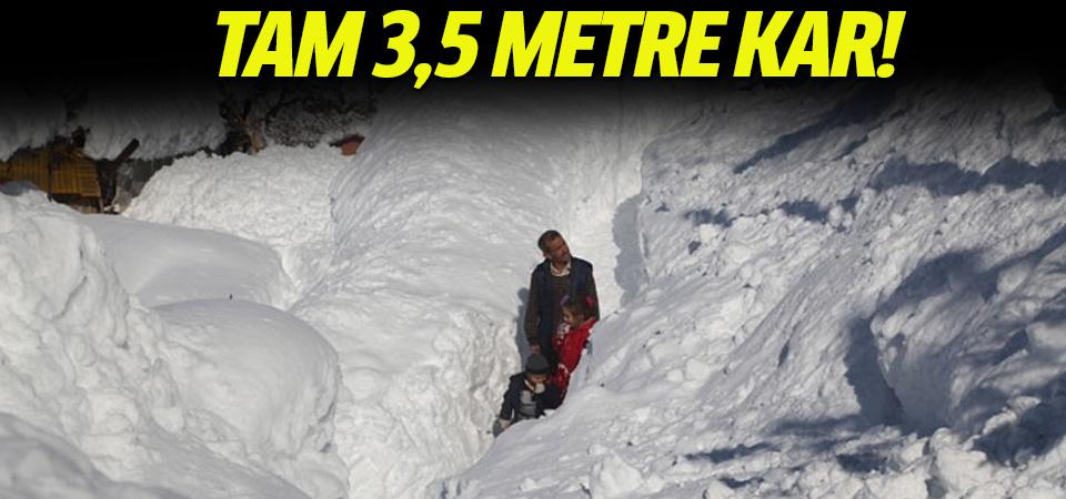 Bu ilçede kar kalınlığı 3,5 metreyi aştı!